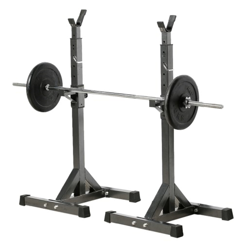 Buy Pair Adjustable Standard Solid Steel Squat Stands Detachable Barbell Fitness Exercise Rack 137 - 167cm