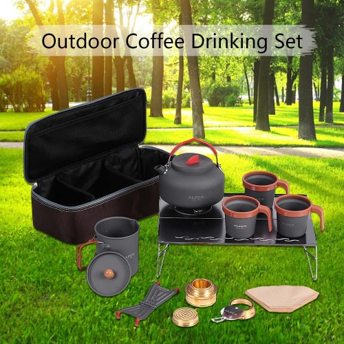 ALOCS  Alluminum Camping Accessories Hand Coffe Pot Tea Pot Teapot Kettle Cups Alcohol Stove Desk Set Kit for Outdoor Cookout Backpacking