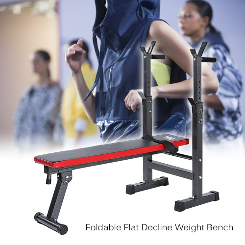 Buy TOMSHOO Adjustable Abdominal AB Bench Crunch Sit Training Gym Weight Lifting Flat Decline Board Barbell Dumbbell Squat Rack Stand Fitness Workout Exercise Equipment