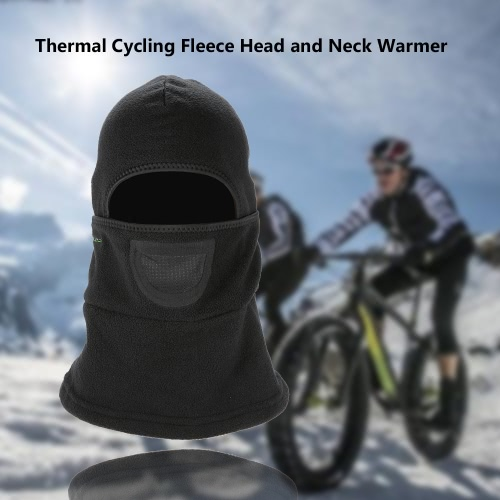 ?ROCKBROS Thermal Cycling Fleece Dust-proof Windproof Winter Neck Warmer Collar Headscarf Face Mask Caps MTB Mountain Black Masks Guard Head Cover Outdoor Snowboarding Skiing Headwear