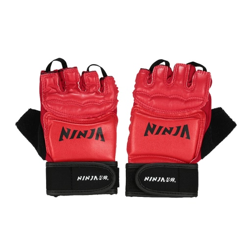 Buy 1 Pair Breathable Amateur Competition Punching Gloves Half Finger Boxing Grappling Sparring Gym Training Club Mitts Hand Wraps PU Leather EVA Foam