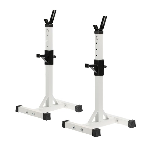 Buy Pair Adjustable Standard Solid Steel Squat Stands Detachable Barbell Fitness Exercise Rack 128 - 148cm