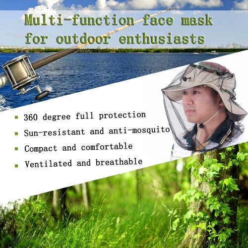 Outdoor Anti-mosquito Mask Hat Multi-function Mesh Face Protection Mosquito Head Net for Fishermen Hunters Hikers Campers от Tomtop.com INT