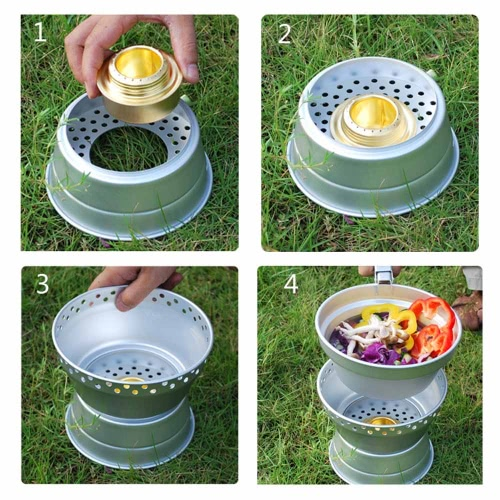 Outdoor Camping Hiking Cookware Cooking Picnic Pot Pan Set Stove Set Alcohol Stove