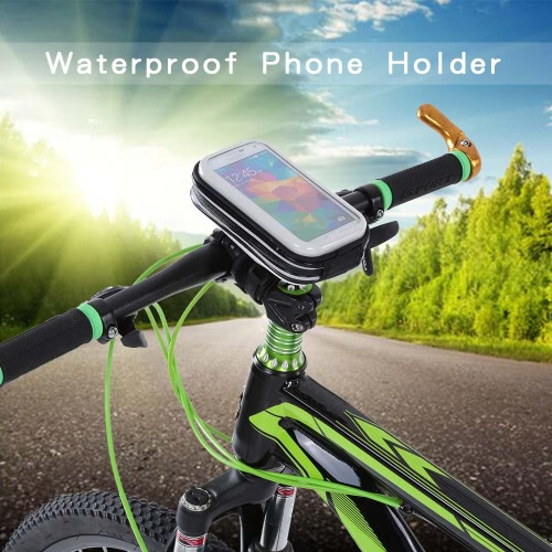 """Lixada Rainproof Motorcycle Bike Bicycle Handlebar Mount Holder Case for 4"""" Cell Phones"""