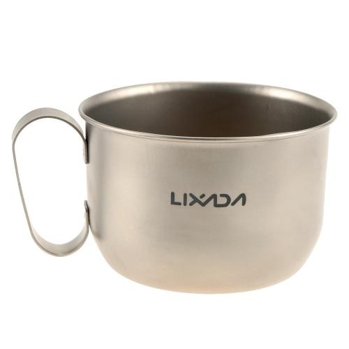 Lixada 100% Titanium Mug Outdoor Ultralight Portable Camping Picnic Water Cup 550ml
