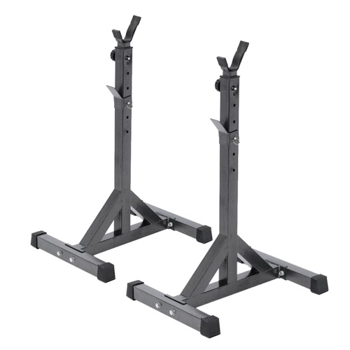 Buy Pair Adjustable Standard Solid Steel Squat Stands Detachable Barbell Fitness Exercise Rack 111.5 - 141.5cm