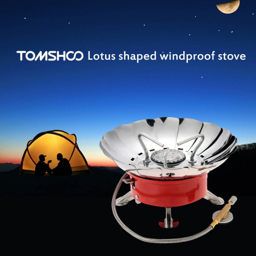 TOMSHOO 2800W Outdoor Portable Collapsible Windproof Camping Backpacking Gas Stove Camping Equipment for Flat Butane Gas Cartridge 11281
