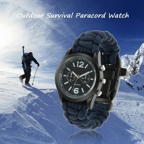 Buy Survival Watch Paracord Gear Outdoor Rescue Bracelet Tactical Military Emergency Fire Starter Whistle Compass