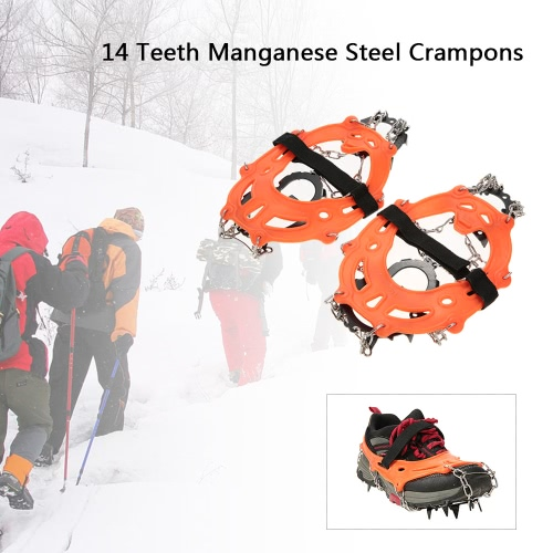 14 Teeth Manganese Steel Crampons Nylon Strap Non-slip Shoes Cover Outdoor Ski Ice Snow Device Hiking от Tomtop.com INT