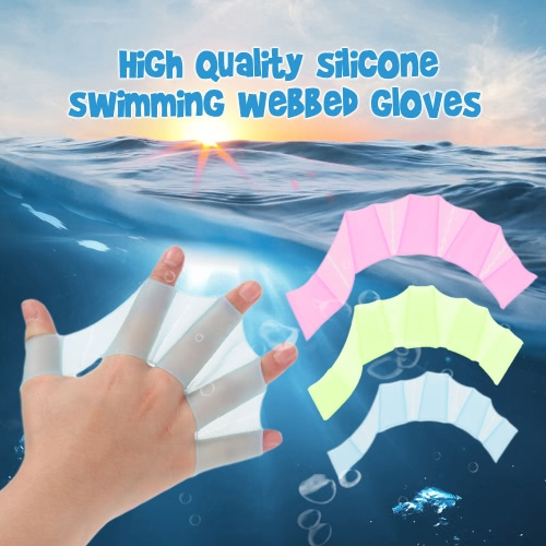 A Pair of Swim Gear Fins Silicone Hand Flippers Unisex Webbed Gloves for Swimming Training S / M / L Size
