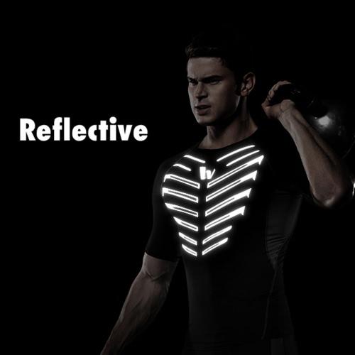 Buy Men's Short Sleeve Compression Shirt Sport Fitness Bodybuilding Gym Running Reflective Top T-Shirt