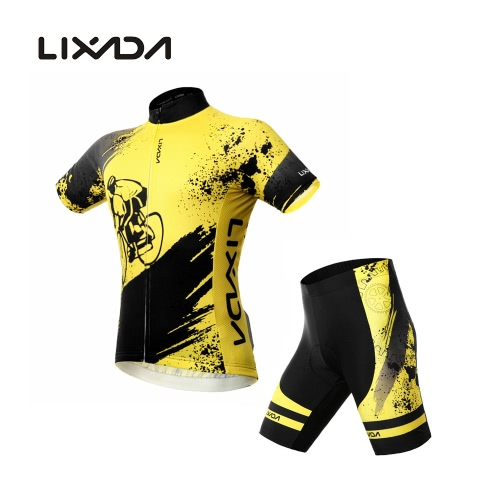 Lixada Breathable Comfortable Short Sleeve Padded Shorts Cycling Clothing Set Riding Sportswear