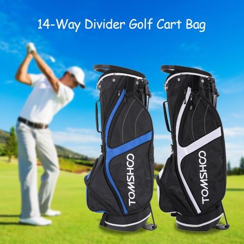 Buy TOMSHOO Lightweight Golf Stand Bag Cart 14 Way Full Length Individual Divider Top Club Organizer