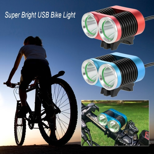 Buy Super Bright USB Bike Light 2400 Lumens Powerful Double Lights Bicycle Cycling LED Safety Front Flashlight Waterproof