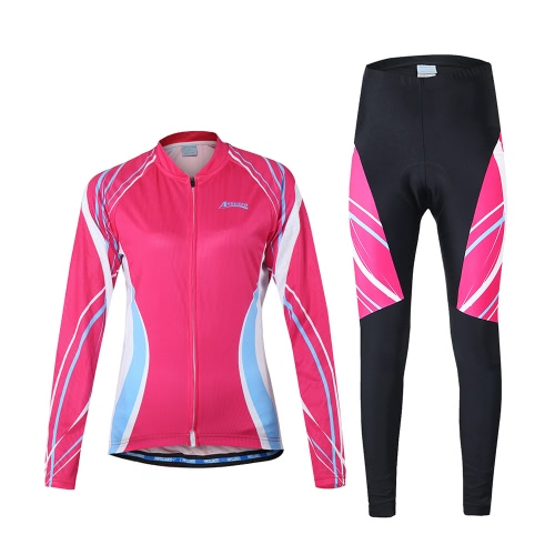 Buy Arsuxeo Women's Outdoor Breathable Comfortable Long Sleeve Cycling Clothing Set Jacket Padded Pants Riding Sportswear