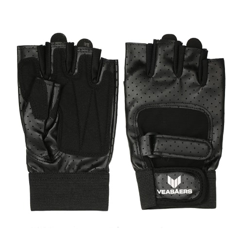 Buy 1 Pair Anti-shock Breathable PU Leather Half-finger Gloves Sports Fitness Chin Push Ups Cycling Gym Training