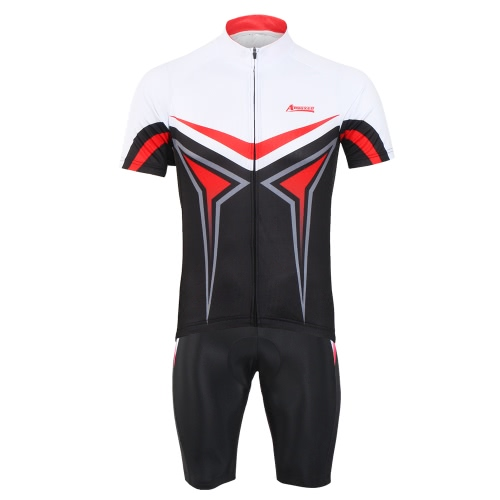 Arsuxeo Men's Summer Breathable Short Sleeve Cycling Jersey Shirt 3D Padded Shorts Set Quick Dry Cycling Riding Running Suit Clothing Set Sportswear