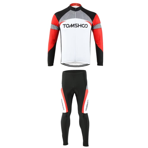 Buy TOMSHOO Spring Autumn Men Cycling Clothing Set Sportswear Road Mountain Bicycle Bike Outdoor Full Zip Long Sleeve Jersey + 3D Padded Pants Trousers Breathable Quick-dry