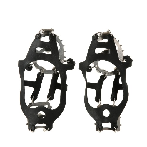 One Pair 18 Teeth Crampons Non-slip Shoes Cover Stainless Steel Crampon Traction Device Outdoor Ski Ice Snow Hiking Climbing от Tomtop.com INT