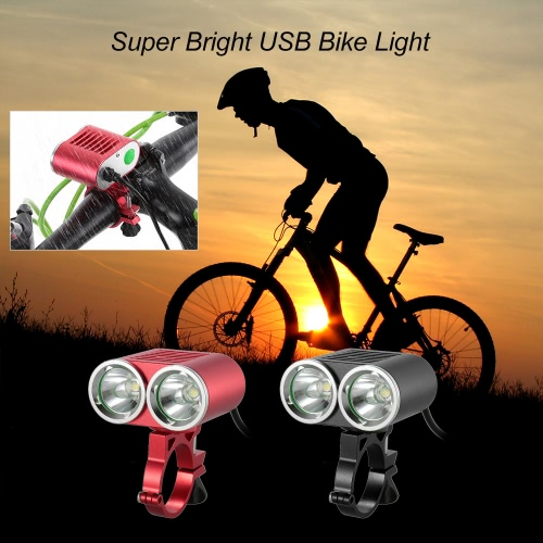 Buy Front Handlebar USB Bike Light 2400 Lumens Powerful Super Bright LED Cycling Safety Flashlight Double Lights Bicycle Waterproof
