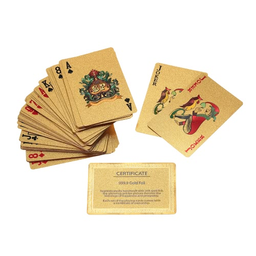 Certified Pure 24K Carat Gold Foil Plated Poker Playing Cards 52 Cards and 2 Jokers Table Games Gift Fun thumbnail