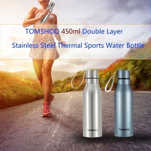 Buy TOMSHOO 450ml Outdoor Sports Double Layer Stainless Steel Insulated Vacuum Cup Thermal Water Bottle Container Hiking Camping