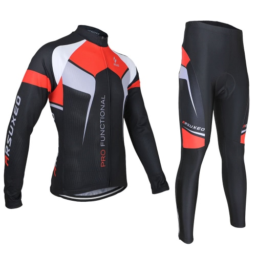 Buy ARSUXEO Spring Autumn Cycling Clothing Set Sportswear Suit Bicycle Bike Outdoor Long Sleeve Jersey + Pants Breathable Quick-dry Men