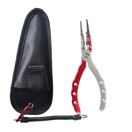 Aluminum Alloy Fishing Pliers Split Ring Cutters Hooks Remover Fishing Holder Tackle with Sheath & Retractable Tether Combo