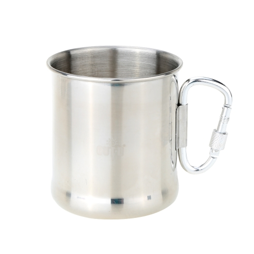 250ml Stainless Steel Mug with Foldable Self-lock Carabiner Handle Folding Handle Cup