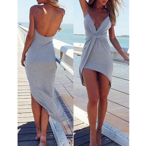 New Sexy Women Dress Twist Deep V Neck Backless Asymmetric Summer Beach Nightclub Dress Grey/Red