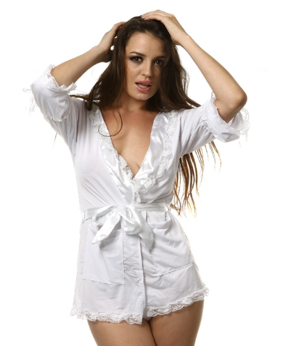 Buy Sexy White Women's Epigamic Lace Trimming Wear Bath Robe Gown