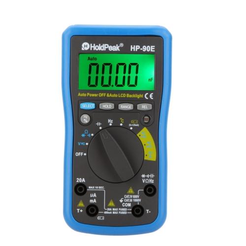 Buy HoldPeak HP-90E Auto Range Digital Multimeter DMM Cap.HZ Temperature Meter Battery Tester w/Auto LCD Backlight