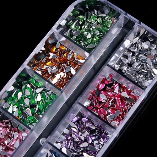 Buy 12 Color Glitter Rhinestone Nail Art Decoration Tips