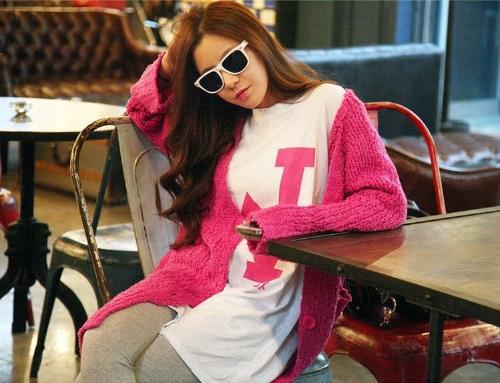 Korean Fashion Women Cardigan Pockets Long Loose Knitting Sweater Outerwear Rose