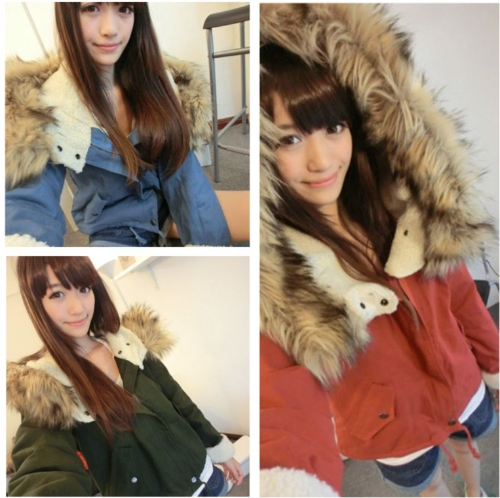 Buy Fashion Women Thick Fleece Parka Faux Fur Hooded Outwear Winter Coat Blue
