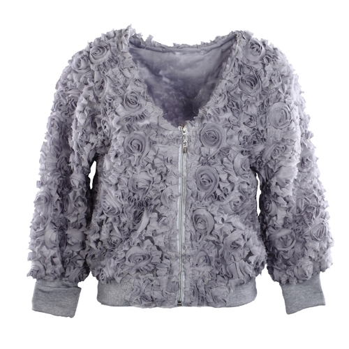Fashion Women Thin Coat 3D Rose Flower Mesh Lace V Neck Zipper Slim Tops Grey