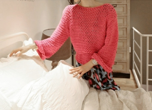 Fashion Women Knitted Sweater Round Neck Long Sleeve Pullover Loose Top Jumper Rose