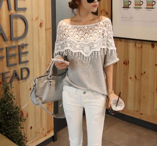 Buy Fashion Women Blouse Crochet Lace Batwing Sleeve Shirt Embroidery Slash Neck Tops Grey