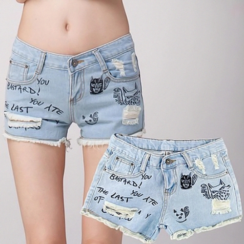 Buy Hot Fashion Women Denim Shorts Hole Letter Character Embroidery Short Pants Jeans Light Blue