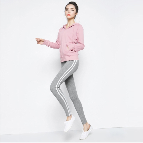 Buy Fashion Women Leggings Side Stripes Elastic Waist Candy Color Stretch Sports Casual Pencil Pants Tights Trousers Light Grey