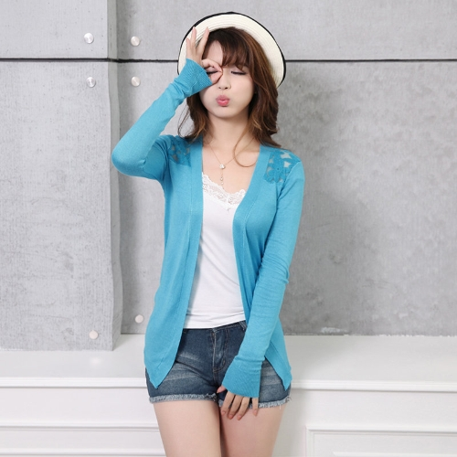 New Fashion Women Cardigan Candy Color Floral Crochet Back Open Front Thin Blouse Short Coat Knitwear