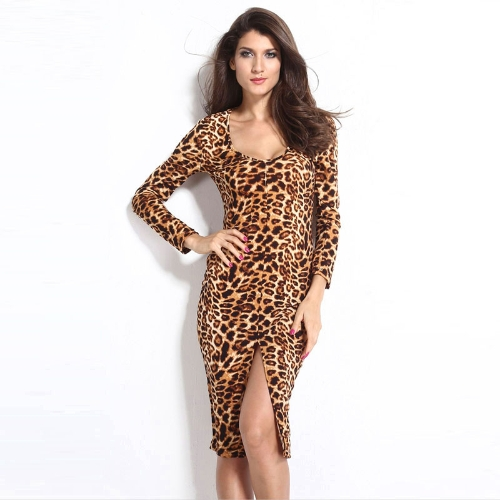 Buy Sexy Women Bodycon Dress Leopard Print V-Neck Long Sleeve Split Clubwear Party