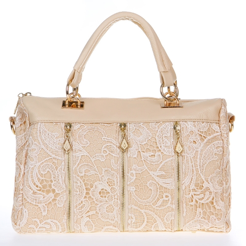 Buy Fashion Women's Lady Retro Lace Handbag PU (Faux) Leather Tote Crossbody Shoulder Bag Beige