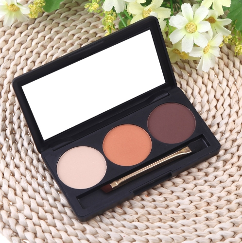 Professional 3 Color Matte Nude Makeup Eyeshadow Palette Eye Shadow with Mirror and Double Ended Brush 2#