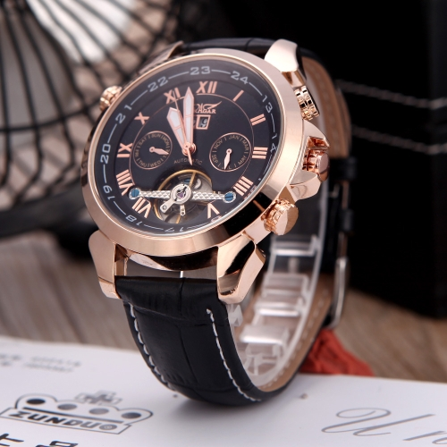 Jaragar Fashion Men's Automatic Mechanical Wrist Sport Watch Leather Band Roman & Arabic Numerals Date Day Week Display Rose Gold Black