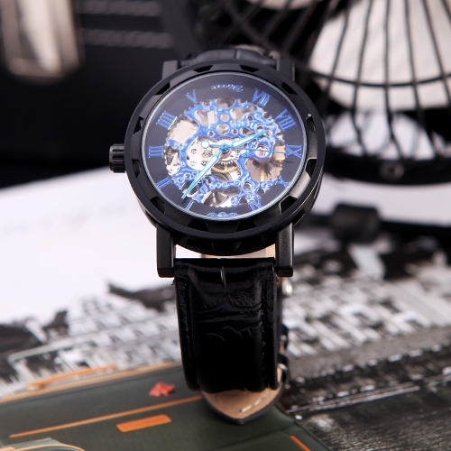 Winner Classic Skeleton Dial Hand Winding Mechanical Sport Army Watch for Men Hollow Transparent Dial with Leather Band Strap Black & Royal Blue