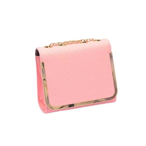 Buy Women Vintage Chain Shoulder Bag PU Leather Candy Color Crossbody Messenger Bags Pink