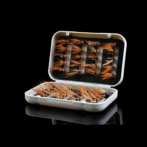 40pcs Dry Fly Flies Hooks Life-like Feather Baits Trout Salmon Fishing Lure Set with Box
