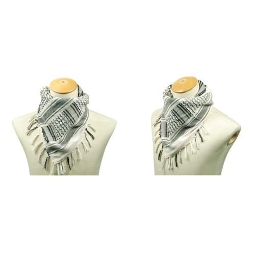 Image For 110110cm Military Arabian Shemagh Tactical Desert Head Scarf Fringed Shawl Stole Muffler Headdress Unisex 100 Cotton White